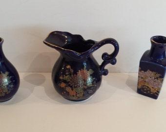 Kutani Type Blue Vases and Pitcher - Japan