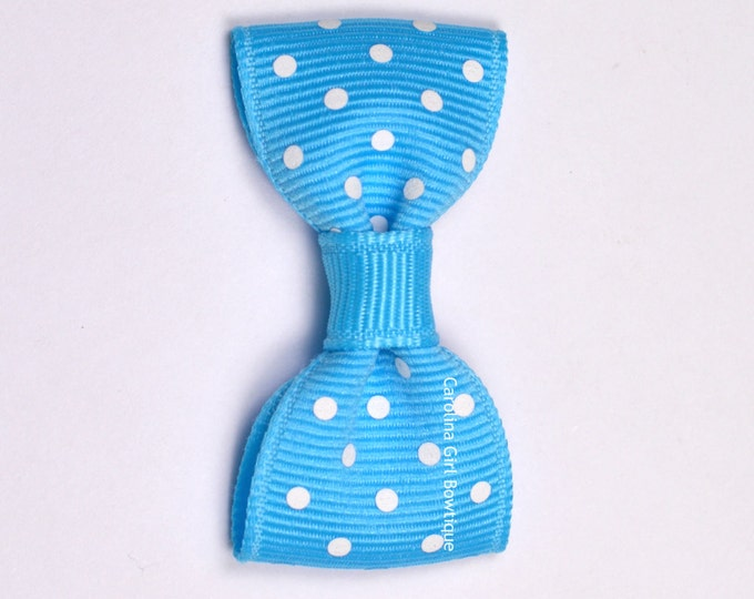 Mystic Blue Dots Baby Hair Bow ~ 2 in. Bow with No Slip Grip ~ Small Hair Bows Newborns Toddler Girls