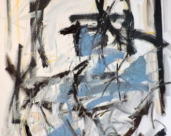 Blue  (LARGE 3' x 4'  abstract expressionist painting on canvas, black, white, cream, silver, blue)
