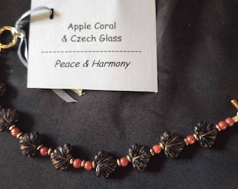 Apple Coral and Czech Glass Bracelet