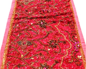 Red Beaded Decorative Indian Vintage Art Wall Hanging Runner Tapestry Embroidered Throw wall hanging Table runner home art