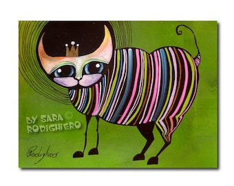 Cat illustration, Pop Art Rainbow Cat,8.2 x 6.1 inches,colorful art on paper - Acrylic paint & watercolors - funny cats
