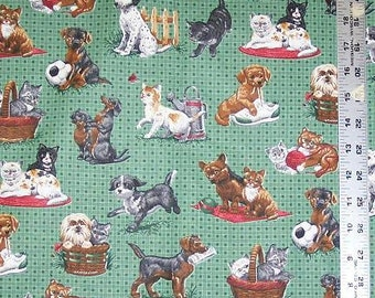 Dogs & Cats in Plaid, Fabric Quilting Crafting Home Decor