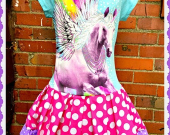 Girls Unicorn dress girls 4/5 6/6X 10/12 and 14/16 ready to ship