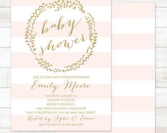 Baby Girl Shower Invitation, Pink Stripes Girl Baby Shower Invitation, Gold Wreath Baby Girl Shower Invitation, Printable Baby Shower Invite