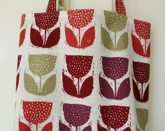 Shopping bag - tulips print, maroon lining