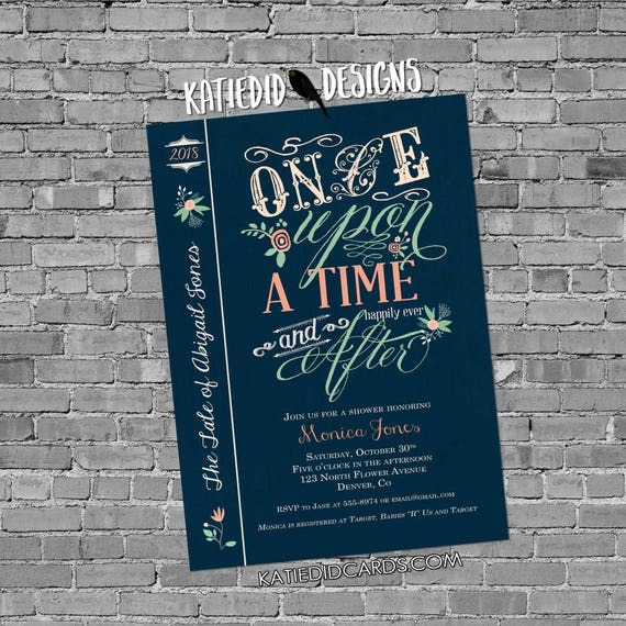 once upon a time baby shower invitation storybook couples coed happily ever after gender neutral mint coral floral | 1379d Katiedid Designs