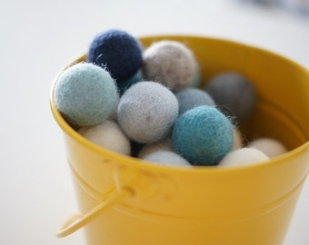 Wool Felt Ball Bulk Pack of 50 - The Blues
