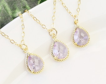 Lavender Necklace SET OF 5 - 10% OFF Gold Light Purple Bridesmaid Necklaces - Crystal Teardrop Necklace - Bridesmaid Gift - Wedding Jewelry