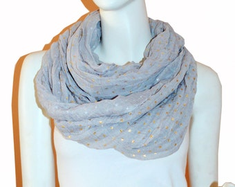Grey Light Weight All Season Star Gliding Crinkle Infinity Scarf  Loop Cowl