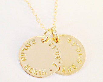Personalized Gold Mommy Necklace - Two, Custom Hand Stamped, 14 K Gold Filled Pendants - Mimi Aunt Sister Grand- Everyday Dainty Trendy Gift