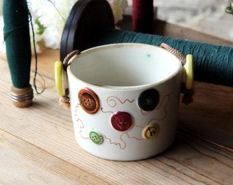 Fred Roberts Company, San Francisco  Ceramic Button Bucket