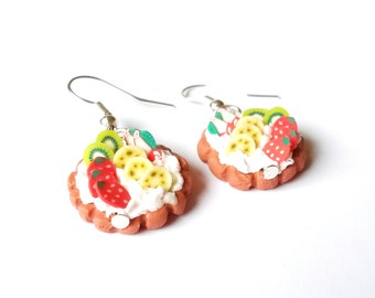 Fruit Cake Earrings ( polymer clay food earrings miniature food earrings mini food earrings kawaii earrings food jewelry cute cakes )