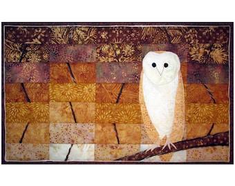 Art Quilt, Nature Fiber Art, Fabric Wall Hanging, Barn Owl