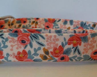 """Salmon and Pink Floral Dog Collar - Girl Dog Collar - Vintage Inspired Peach, Coral & Grey Floral Dog Collar """"Amber"""" - Free Colored Buckles"""