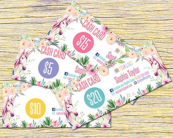 Unicorn Cash Cards, Free Fast Personalization , Money Card, Digital Files,  Bucks, Home Office Approved fonts and colors! ,Price Cards Signs