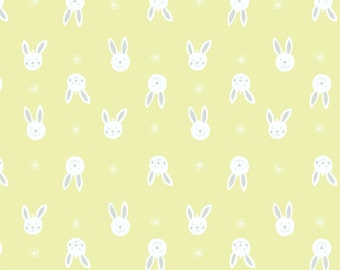 Bunny Garden A150-3 Leo Bunny on yellow Lewis & Irene Patchwork Quilting Fabric