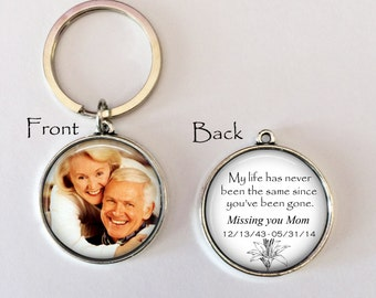 MEMORIAL KEYCHAIN - Your LOVED one's photo on one side, Personalized Memorial Keychain Sympathy Gift,Loss Of Loved One,Remembrance KeyChain