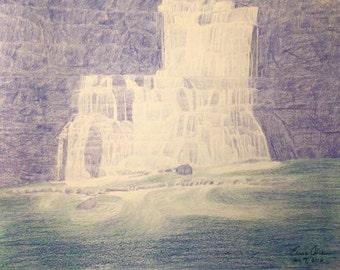 Waterfall (Original Hand Drawn)