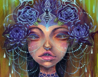 the Bee Keeper - queen bee, acrylic painting, art print, bees, flowers, beautiful woman, lowbrow surreal art, art by phresha, tiny art