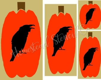 PRIMITIVE STENCIL -Item 7346 - Multi Size Pumpkins with Crows Graphic - Clear 5Mil Mylar -Make Your Own Sign