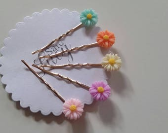 Spring flower bobby pin collection hair clips collection resin flowers hair clips