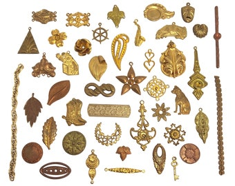 Assorted Vintage Stampings, Over 40 Pieces, Embellishments, Pendants, Stampings, Etc. Jewelry Making, Assorted Finishes, B'sue, Item06926