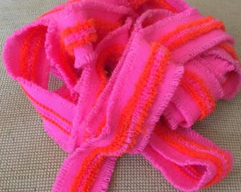Vintage 1960s 1970s Trim Embellishments Pink And Orange For Crafts Sewing Art