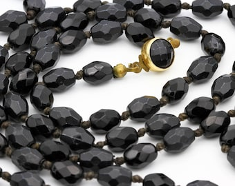 Black Bead Necklace, Antique 1940s Jewelry, Hand Knotted Necklace, Faceted Glass Necklace, Long Beaded Necklace, Made In Austria Jewelry