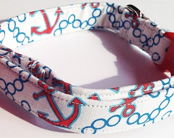 Blue & Red Nautical Dog and Cat Collar for Summer