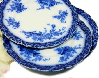 Trois Antique Stanley poterie flux bleu déjeuner assiettes motif Touraine