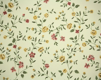 Retro Wallpaper by the Yard 70s Vintage Wallpaper - 1970s Pink and Yellow Foral Chintz