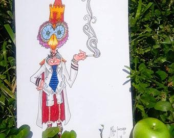 Smoking Bird Man Original Art