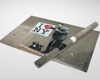 Banksy - I Love NY Archival Canvas Print