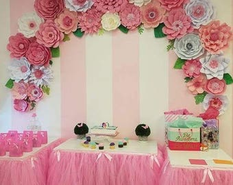 Pink Paper Flower Arch Choose Your Colors Backdrop