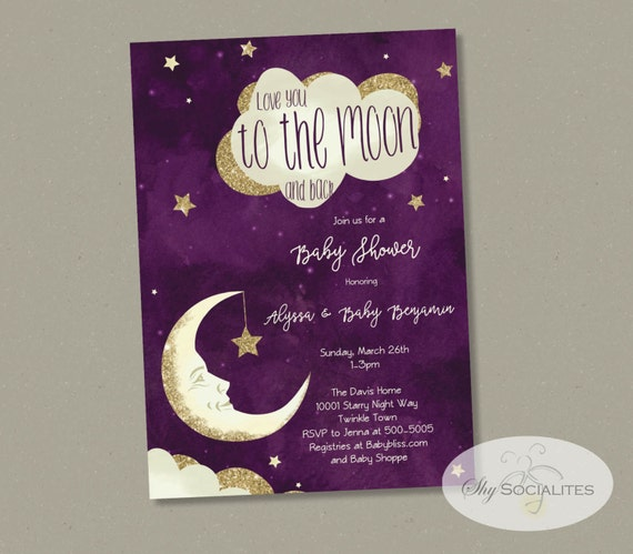 Purple Moon Stars Baby Shower Invitation Love You To the