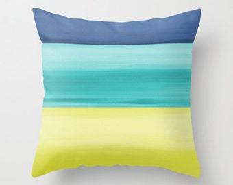 Decorative Pillow Cover Abstract  Navy Teal Yellow Green Modern Home Decor Throw Pillow Cover Accent Pillow Cover Sofa Pillow Cover