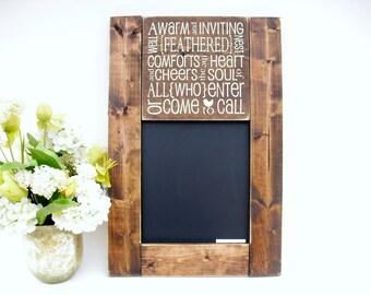 Kitchen or Entry Way Chalkboard Rustic Wood Framed Blackboard Gift Wall Decor (#1086-S23)
