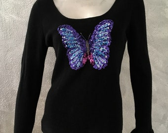 CACHE Vintage Sequin Butterfly Sweater Top