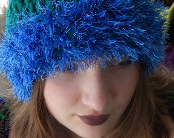 Teal and Midnight Blue Glitter Hat