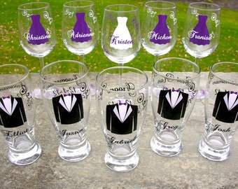 Wedding party glasses, wine glasses and beer pilsner glasses.  Bridesmaids and Groomsman gifts.  Plum purple dress and tux glasses. 1 glass