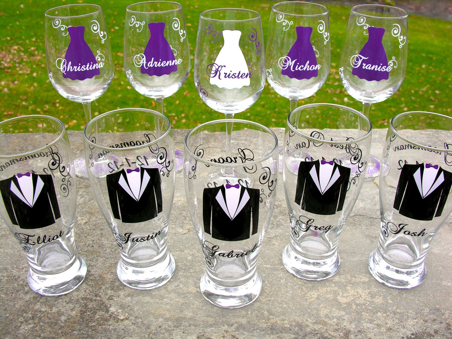Wedding party glasses wine glasses and beer pilsner glasses.