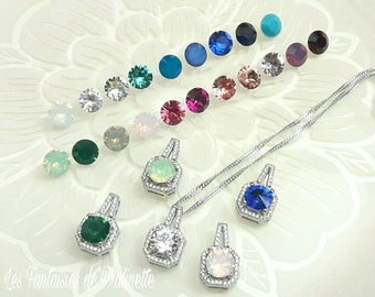 Bridal necklace, Wedding necklace, wedding pendant, square wedding necklace, bridal crystal pendant, drop bridal necklace, drop pendant