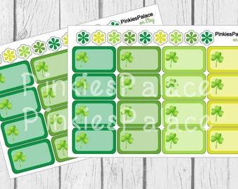 St Patricks Day Planner Stickers Half Box Clover Green PS451