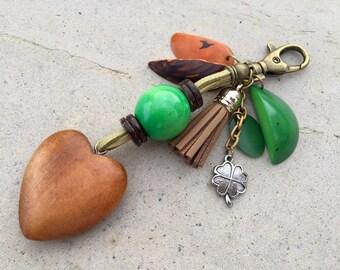 Heart Purse Charm, Zipper Pull, Handbag Charm, Seed Jewelry, Wood Jewelry, Purse Zipper Pull, Tagua Jewelry