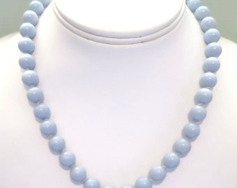Blue Bead Necklace 17 inches Hand Knotted 1970's Vintage Pastel Light Blue Necklace