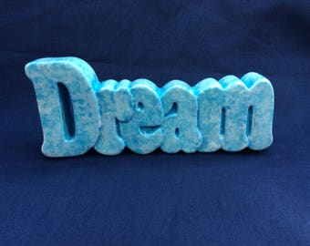 Hand Painted Ceramic 'Dream' Word in blue and white