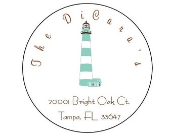 Personalized PRINTED lighthouse stickers round lighthouse return address labels round address labels