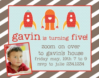 Rocket Birthday Party Invitation-- Any age -- Rocket Ship