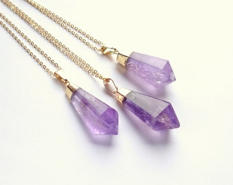 Amethyst Necklace Gold Dipped Amethyst Drop Pendant Purple Stone Necklace Gold Plated Crystal Necklace Amethyst Jewelry Crystal Jewelry